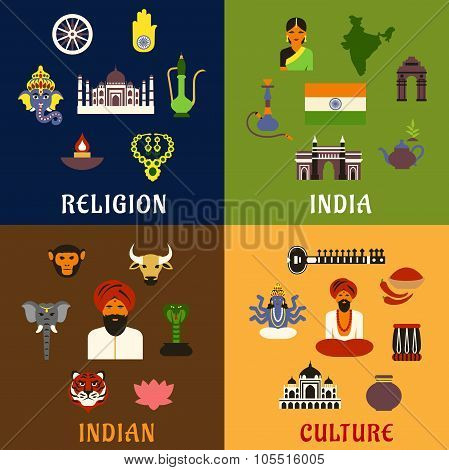 Indian Culture Religion And National Icons Poster