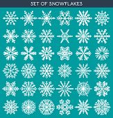 Set 36 white different snowflakes of handmade for design poster