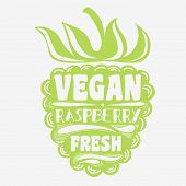 Постер, плакат: Vegan Typographic Print With Raspberry