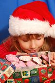 Picture of girl and christmas gingerbreads.