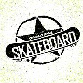 Vintage Skateboard Logotype. With star in circle sign. Can be used to print on T-shirts poster