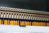 image of busbar  - photo of wiring (wirework). focus on center