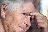 foto of senior-citizen  - elderly woman having problem - JPG