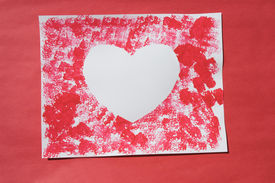 stock photo of valentine card  - a sponge print craft project - JPG