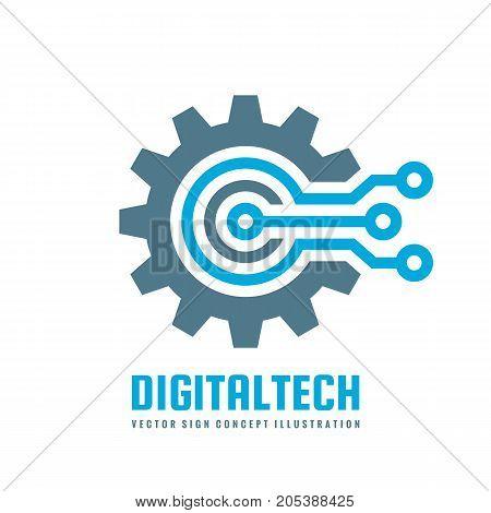 poster of Digital tech - vector business logo template concept illustration. Gear electronic factory sign. Cog wheel technology symbol. SEO emblem. Design element.