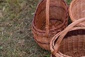 wicker baskets on the grass. horizontal day shot close-up