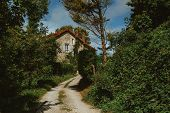Old Country House With Blue Shutters And Gravel Road In Normandy, France On A Sunny Day. Beautiful C poster