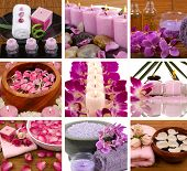 picture of massage oil  - Aromatherapy and spa collage with flowers - JPG