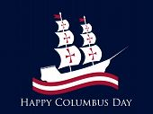 Happy Columbus Day, The Discoverer Of America, Waves And Ship, Holiday Banner. Sailing Ship With Mas poster
