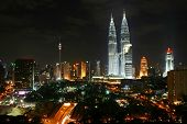 picture of petronas towers  - kuala lumpur city night scene - JPG