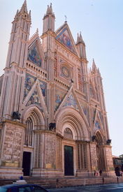 pic of cornerstone  - This stunning cathedral is the summit of this beautiful medival City located near Assisi Italy - JPG