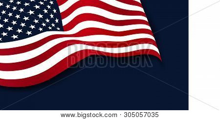 poster of Waving American Flag Of The United States Of America Isolated On Navy Blue Background. 4th Of July.