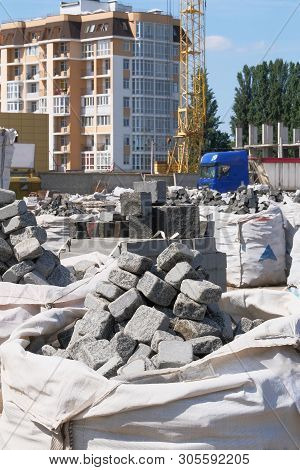 poster of Construction Materials. Building Materials For Decoration And Construction Houses. Gray Stones Are S