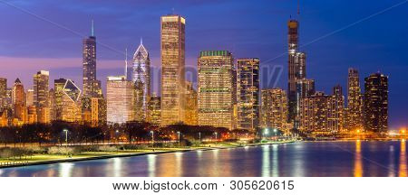 poster of Panorama of Chicago downtown Cityscape skylines and skyscrapers office building with Lake Michigan s