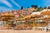 Colorful Old Town And Beach In Sunny Menton, Perle De La France, On French Riviera, France poster