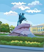 Cityscape Of  Monument Of Russian Emperor Peter The Great On Senate Square, Saint Petersburg, Russia poster