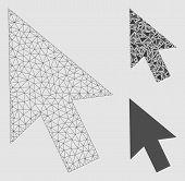 Mesh Cursor Arrow Model With Triangle Mosaic Icon. Wire Frame Polygonal Mesh Of Cursor Arrow. Vector poster