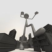foto of godzilla  - an enormous stickman is attacking the city  - JPG