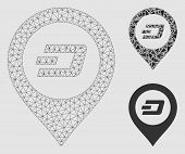 Mesh Dash Map Pointer Model With Triangle Mosaic Icon. Wire Frame Polygonal Mesh Of Dash Map Pointer poster