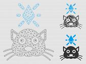 Mesh Crypto Kitty Model With Triangle Mosaic Icon. Wire Carcass Triangular Mesh Of Crypto Kitty. Vec poster