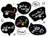 Funny Black Speech-bubbles With Color Lettering Phrases. Stylized Slogan. Motivation Quotes And Phra poster
