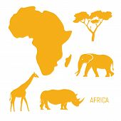 Africa. Map Of Africa Continent With Wild Animals Silhouettes - Elephant, Rhinoceros, Giraffe. Eco F poster