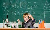Knowledge Day. Basic Knowledge Primary School Education. Kid Study Biology Chemistry. Educational Ex poster