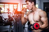 Strong Muscular Athlete Men With Pizza Fast Food. Unhealthy Eating Diet Concept. poster
