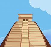 foto of ziggurat  - Illustration of Aztec temple and steps in blue background - JPG