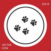 Grey Paw Print Icon Isolated On Red Background. Dog Or Cat Paw Print. Animal Track. White Circle But poster