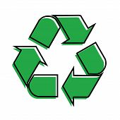 Green Arrows Recycle Eco Symbol Vector Illustration Isolated On White Background. Recycled Sign. Cyc poster
