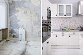 Before And After Of Modern Kitchen Apartment Room In Renovated House poster