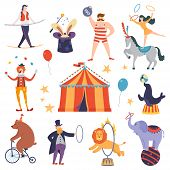 Set Of Circus Artists And Animals In A Flat Cartoon Style. Elements Of Circus Show. Fun Fair Tent. V poster