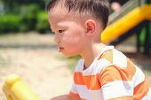 Cute Little Asian 2 - 3 Years Old Toddler Baby Boy Child Sweating During Having Fun Playing, Exercis poster
