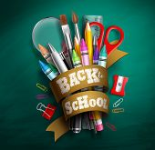 Back To School Vector Design. Back To School Text In Ribbon With Colorful School Supplies And Elemen poster