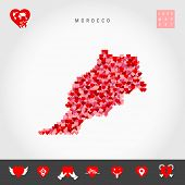 I Love Morocco. Red And Pink Hearts Pattern Vector Map Of Morocco Isolated On Grey Background. Love  poster