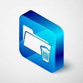 Isometric Delete Folder Icon Isolated On White Background. Folder With Recycle Bin. Delete Or Error  poster