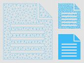 Mesh Document Model With Triangle Mosaic Icon. Wire Carcass Triangular Mesh Of Document. Vector Comp poster