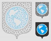 Mesh Earth Shield Model With Triangle Mosaic Icon. Wire Carcass Polygonal Mesh Of Earth Shield. Vect poster