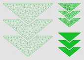 Mesh Downloads Model With Triangle Mosaic Icon. Wire Carcass Polygonal Mesh Of Downloads. Vector Mos poster