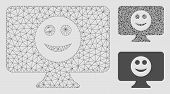 Mesh Display Smile Model With Triangle Mosaic Icon. Wire Carcass Triangular Mesh Of Display Smile. V poster