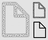 Mesh Document Model With Triangle Mosaic Icon. Wire Frame Polygonal Mesh Of Document. Vector Mosaic  poster