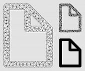 Mesh Document Page Model With Triangle Mosaic Icon. Wire Frame Polygonal Mesh Of Document Page. Vect poster