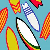 Retro Surfboards Seamless Pattern, Surfing Surface Pattern Background Surf And Summer Repeat Pattern poster