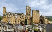 Alet Les Bains, France - June 4, 2019: Ruins Of Ninth Century Benedictine Abbey Of Notre Dame In Vil poster