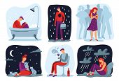 Feel Loneliness. Feeling Lonely, Sad Depressive Person And Social Isolation Vector Illustration Set poster