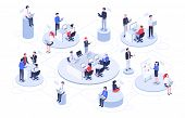 Isometric Virtual Office. Business People Working Together, Technology Companies Workspace And Teamw poster