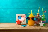 Happy Independence Day, 4th Of July Celebration Concept With Party Drinks And American Flag On Woode poster