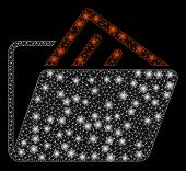 Bright Mesh Document Folder With Glow Effect. Abstract Illuminated Model Of Document Folder Icon. Sh poster