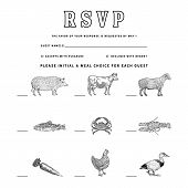 Wedding Meal Choice Vintage Illustrations Vintage Style Illustrations Of Meal Choice Options: Pork,  poster